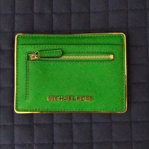 EUC Green and Gold Michael Kors Wallet